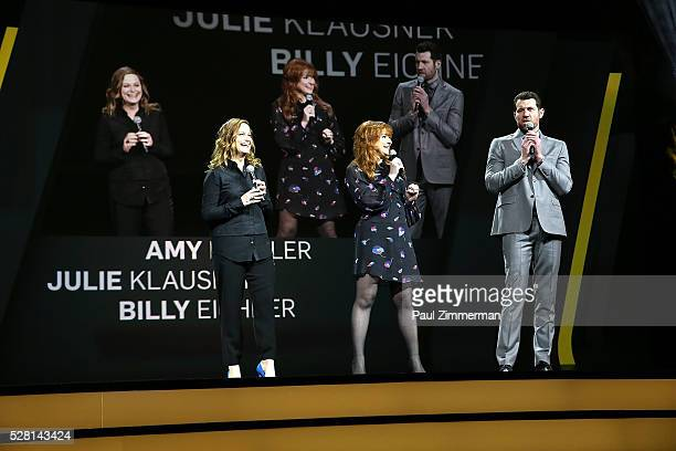 Actors Amy Poehler Julie Klausner and Billy Eichner of Difficult People speak onstage at the 2016 Hulu Upftont on May 04 2016 in New York New York