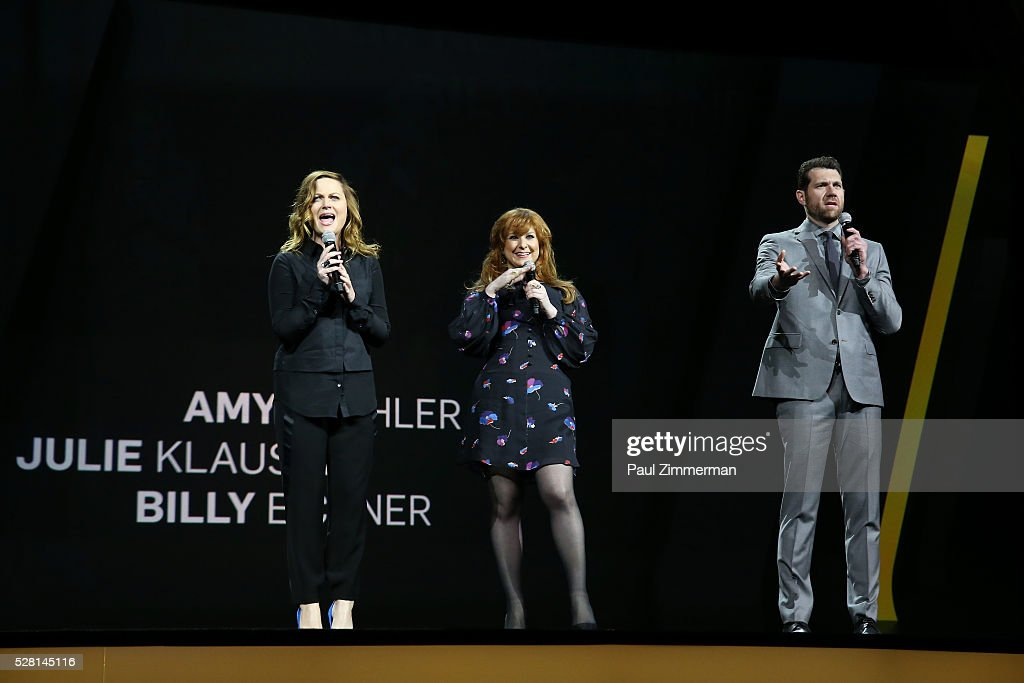 Actors <a gi-track='captionPersonalityLinkClicked' href=/galleries/search?phrase=Amy+Poehler&family=editorial&specificpeople=228430 ng-click='$event.stopPropagation()'>Amy Poehler</a>, <a gi-track='captionPersonalityLinkClicked' href=/galleries/search?phrase=Julie+Klausner&family=editorial&specificpeople=8780325 ng-click='$event.stopPropagation()'>Julie Klausner</a> and <a gi-track='captionPersonalityLinkClicked' href=/galleries/search?phrase=Billy+Eichner&family=editorial&specificpeople=4821961 ng-click='$event.stopPropagation()'>Billy Eichner</a> of Difficult People speak onstage at the 2016 Hulu Upftont on May 04, 2016 in New York, New York.