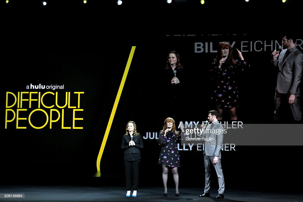 Actors Amy Poehler, Julie Klausner and Billy Eichner of Difficult People speak onstage at the 2016 Hulu Upftont on May 04, 2016 in New York, New York.
