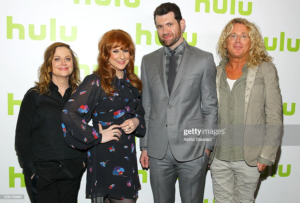 Actors <a gi-track='captionPersonalityLinkClicked' href=/galleries/search?phrase=Amy+Poehler&family=editorial&specificpeople=228430 ng-click='$event.stopPropagation()'>Amy Poehler</a>, <a gi-track='captionPersonalityLinkClicked' href=/galleries/search?phrase=Julie+Klausner&family=editorial&specificpeople=8780325 ng-click='$event.stopPropagation()'>Julie Klausner</a>, <a gi-track='captionPersonalityLinkClicked' href=/galleries/search?phrase=Billy+Eichner&family=editorial&specificpeople=4821961 ng-click='$event.stopPropagation()'>Billy Eichner</a> and EP Scott King attend the 2016 Hulu Upftont on May 04, 2016 in New York, New York.
