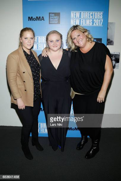 Actors Amy Schumer Danielle Macdonald and Bridget Everett attend the New Directors/New Films 2017 Opening Night of PATTI CAKE$ presented by MoMA Film...