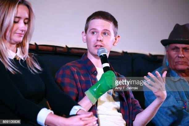 Actors Amy Shiels Jake Wardle and Michael Horse answer questions on stage during the Twin Peaks UK Festival 2017 at Hornsey Town Hall Arts Centre on...