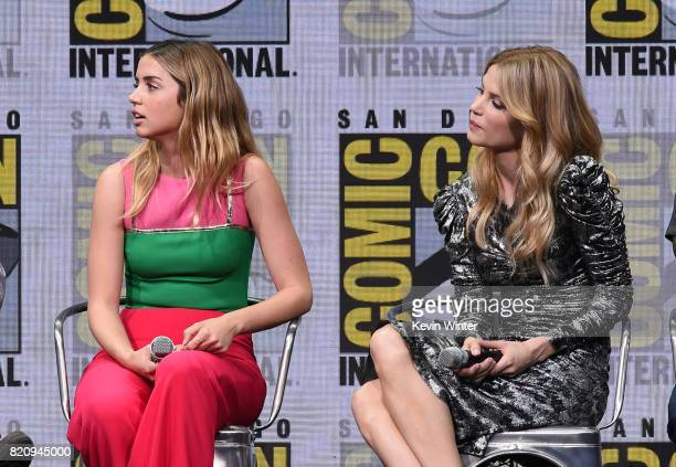 Actors Ana de Armas and Sylvia Hoeks attend the Warner Bros Pictures 'Blade Runner 2049' Presentation during ComicCon International 2017 at San Diego...