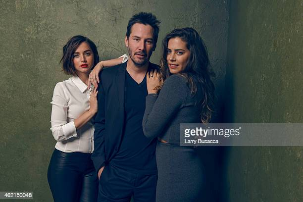 Actors Ana de Armas Keanu Reeves and Lorenza Izzo from 'Knock Knock' pose for a portrait at the Village at the Lift Presented by McDonald's McCafe...