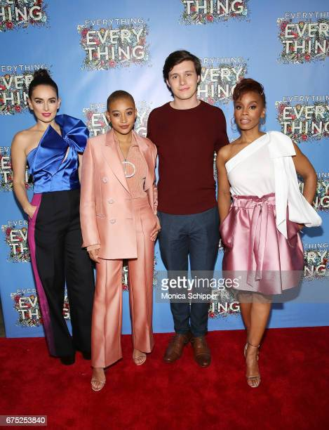 Actors Ana de la Reguera Amandla Stenberg Nick Robinson and Anika Noni Rose attend the 'Everything Everything' New York Screening at The Metrograph...