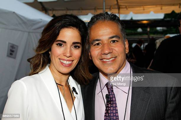 Actors Ana Ortiz and John Ortiz backstage at PBS' 2017 National Memorial Day Concert at US Capitol West Lawn on May 28 2017 in Washington DC