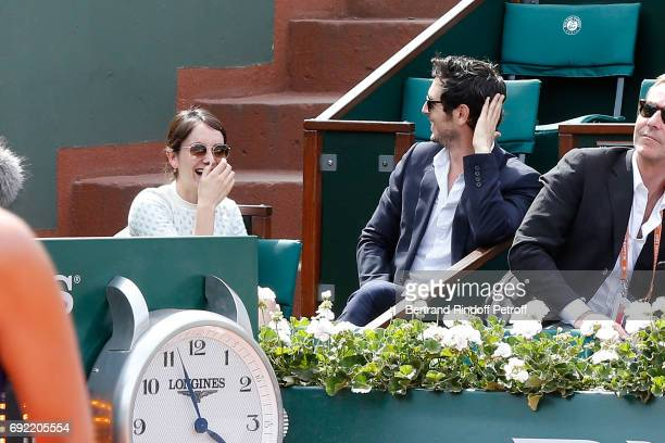 Actors Anais Demoustier and Jeremie Elkaim attend the 2017 French Tennis Open Day Height at Roland Garros on June 4 2017 in Paris France