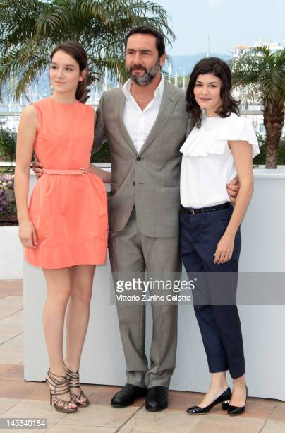 Actors Anais Demoustier Gilles Lellouche and Audrey Tautou poses at the 'Therese Desqueyroux' Photocall during the 65th Annual Cannes Film Festival...
