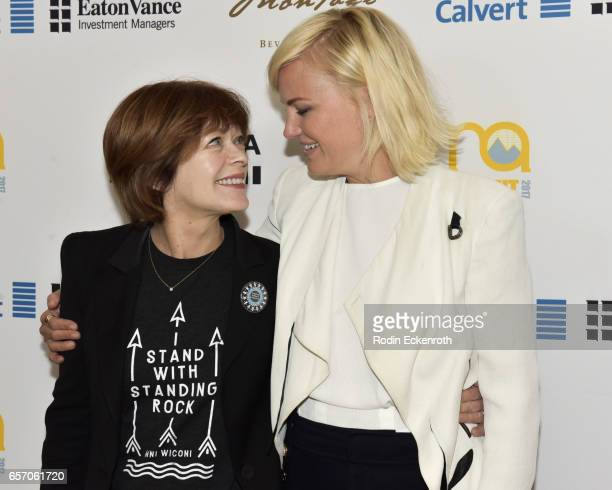 Actors and activists Frances Fisher and Malin Akerman attend the EMA Impact Summit at Montage Beverly Hills on March 23 2017 in Beverly Hills...