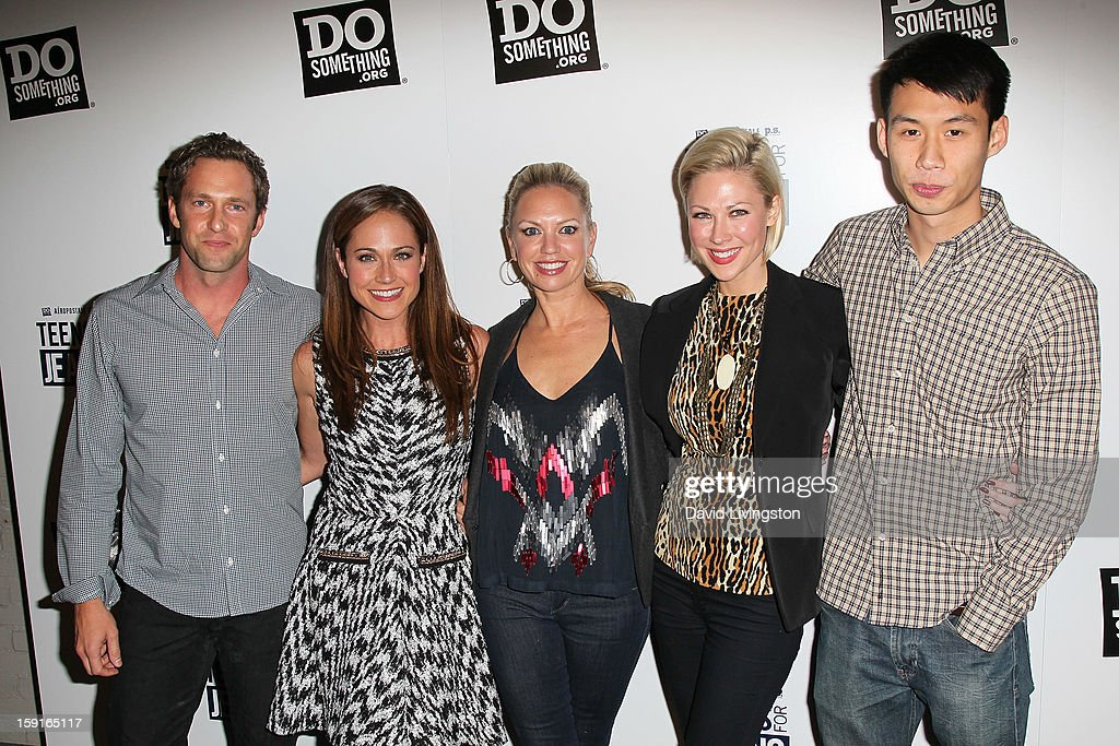 Actors and 'Awkward' cast members Mike Failoa, Nikki DeLoach, Barret Swatek, Desi Lydic and Kelly Sry attend DoSomething.org and Aeropostale celebrating the launch of the 6th Annual 'Teens For Jeans' campaign hosted by Chloe Moretz at Palihouse on January 8, 2013 in West Hollywood, California.