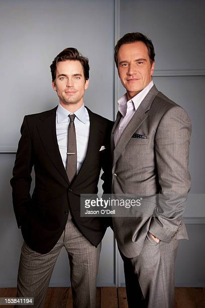 Actors and cast mates on TV show 'White Collar' Matt Bomer and Tim DeKay are photographed for TV Guide Magazine on January 13 2011 in Los Angeles...
