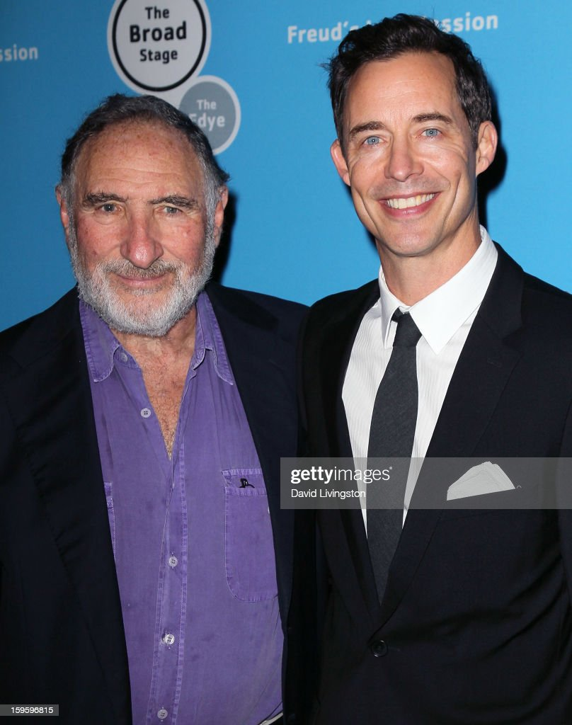 Actors and cast members <a gi-track='captionPersonalityLinkClicked' href=/galleries/search?phrase=Judd+Hirsch&family=editorial&specificpeople=228101 ng-click='$event.stopPropagation()'>Judd Hirsch</a> (L) and Tom Cavanagh pose at the opening night of 'Freud's Last Session' at The Broad Stage at the Santa Monica College Performing Arts Center on January 16, 2013 in Santa Monica, California.