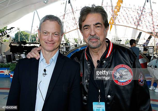 Actors and cohosts Gary Sinise and Joe Mantegna pose for a photo at the 26th National Memorial Day Concert Rehearsals on May 23 2015 in Washington DC