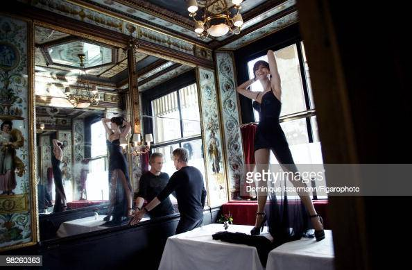 Actors and couple Sophie Marceau and Christopher Lambert at a portrait session for Madame Figaro Magazine in Paris in 2009 Shot at restaurant Le...
