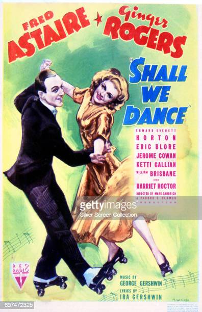 Actors and dancers Fred Astaire as Petrov Peters and Ginger Rogers as Linda Keene on a poster for the RKO Radio Pictures film 'Shall We Dance' 1937