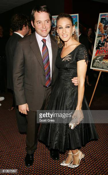 Actors and husband and wife Matthew Broderick and Sarah Jessica Parker arrive at the premiere of 'The Last Shot' at Cinema One Septmeber 14 2004 in...