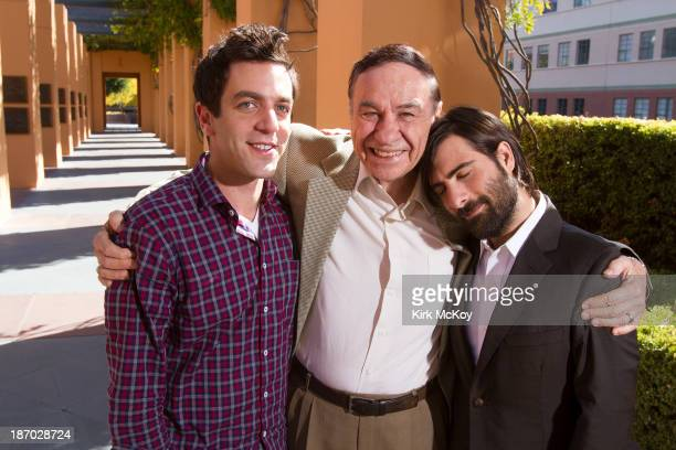 Actors and legendary Disney songwriter BJ Novak Jason Schwartzman Richard Sherman is photographed for Los Angeles Times on October 17 2013 in Burbank...