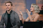 Actors and professional dancers Derek Hough and Julianne Hough tape an interview at 'Good Morning America' at the ABC Times Square Studios on March 2...