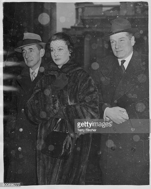 Actors and spouses Laurence Olivier and Vivien Leigh attending a memorial service for Sir Alexander Korda at St MartinintheFields London January 31st...