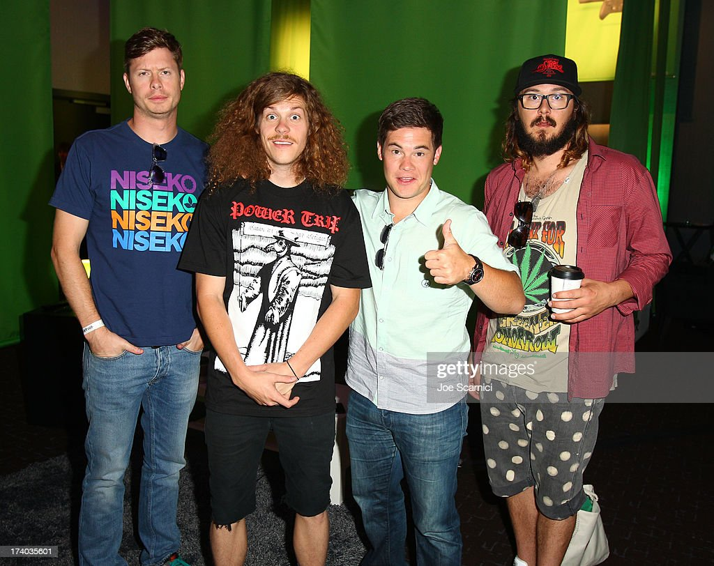Actors Anders Holm, Blake Anderson, Adam DeVine and Kyle Newacheck play Xbox One at Comic-Con 2013 at the Hard Rock Hotel San Diego on July 19, 2013 in San Diego, California.