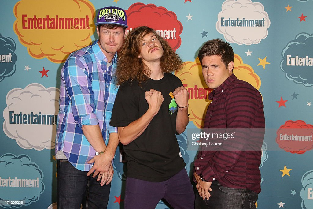 Actors Anders Holm, Blake Anderson and Adam DeVine arrive at Entertainment Weekly's annual Comic-Con celebration at Float at Hard Rock Hotel San Diego on July 20, 2013 in San Diego, California.