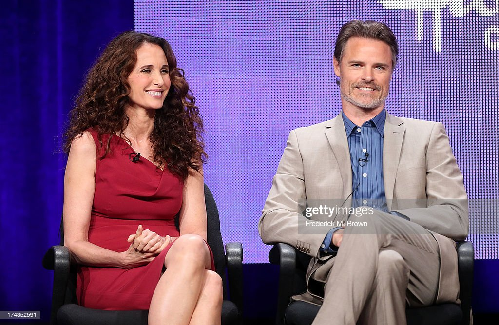 Actors Andie MacDowell (L) and Dylan Neal speak onstage during the Debbie Macomber's Cedar Cove panel at the Hallmark Channel and Hallmark Movie Channel portion of the 2013 Summer Television Critics Association tour at the Beverly Hilton Hotel on July 24, 2013 in Beverly Hills, California.