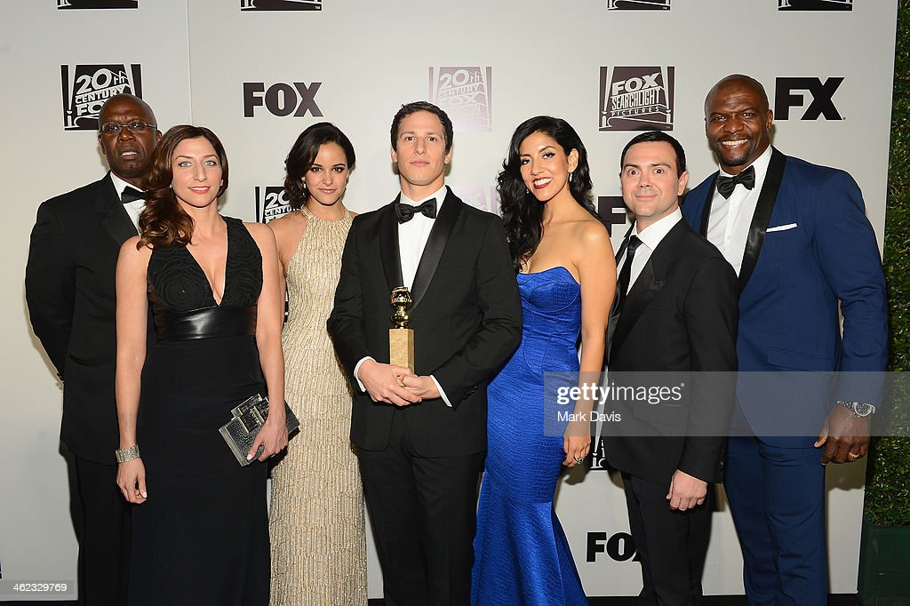 Actors <a gi-track='captionPersonalityLinkClicked' href=/galleries/search?phrase=Andre+Braugher&family=editorial&specificpeople=639919 ng-click='$event.stopPropagation()'>Andre Braugher</a>, Chelsea Peretti, Melissa Fumero, <a gi-track='captionPersonalityLinkClicked' href=/galleries/search?phrase=Andy+Samberg&family=editorial&specificpeople=595651 ng-click='$event.stopPropagation()'>Andy Samberg</a>, Stephanie Beatriz, <a gi-track='captionPersonalityLinkClicked' href=/galleries/search?phrase=Joe+Lo+Truglio&family=editorial&specificpeople=561393 ng-click='$event.stopPropagation()'>Joe Lo Truglio</a>, and <a gi-track='captionPersonalityLinkClicked' href=/galleries/search?phrase=Terry+Crews&family=editorial&specificpeople=569932 ng-click='$event.stopPropagation()'>Terry Crews</a> from the cast of 'Brooklyn Nine-Nine' attend the Fox And FX's 2014 Golden Globe Awards Party on January 12, 2014 in Beverly Hills, California.