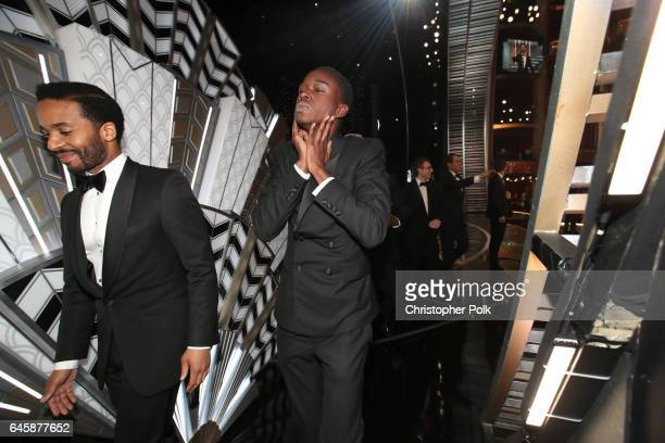 Actors Andre Holland and Ashton Sanders backstage during the 89th Annual Academy Awards at Hollywood Highland Center on February 26 2017 in Hollywood...