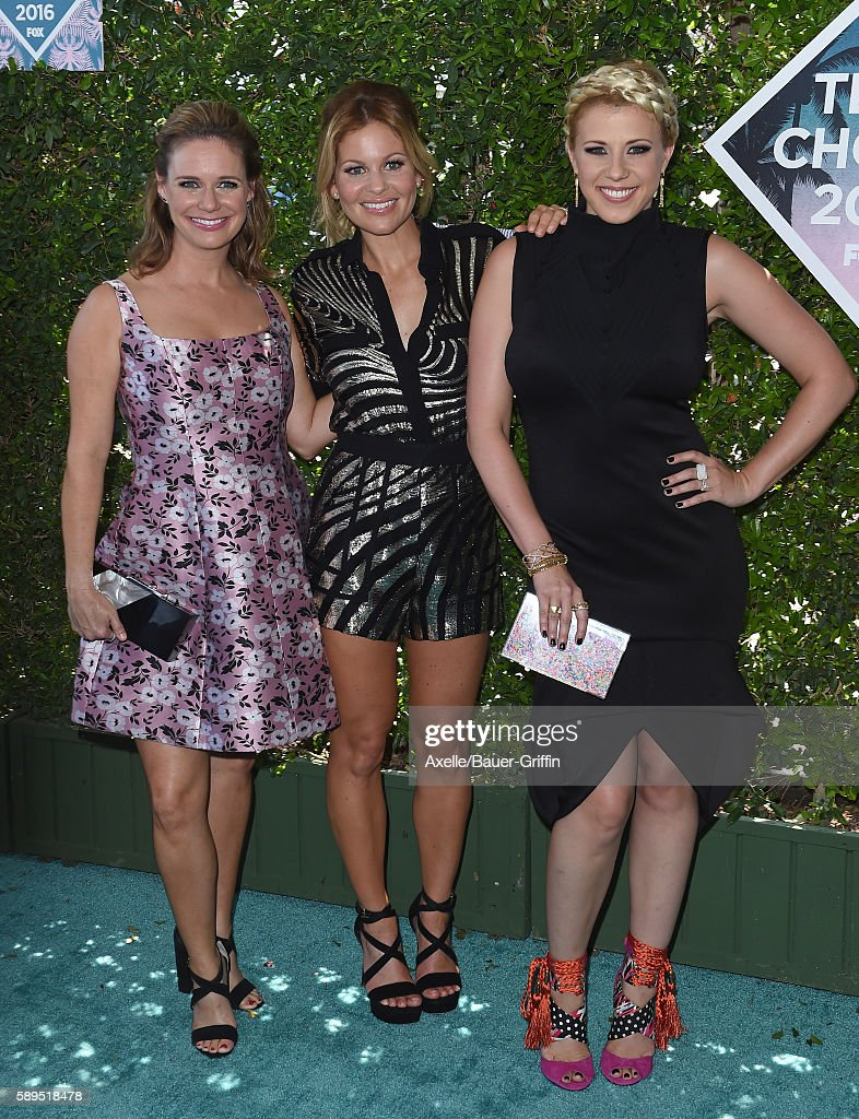 Actors Andrea Barber Candace CameronBure and Jodie Sweetin arrive at the Teen Choice Awards 2016 at The Forum on July 31 2016 in Inglewood California