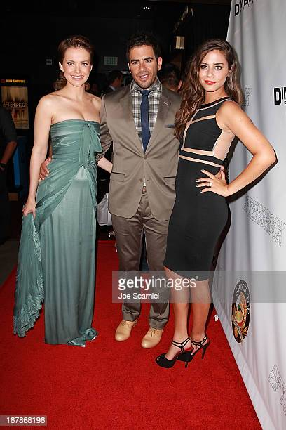 Actors Andrea Osvart Eli Roth and Lorenza Izzo arrive at the 'AFTERSHOCK' premiere presented by Dimension Films and RADiUSTWC in partnership with...