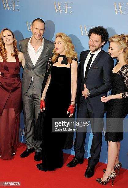 Actors Andrea Riseborough James D'Arcy writer/director Madonna Richard Coyle and Natalie Dormer attend the UK premiere of 'WE' at Kensington Odeon on...