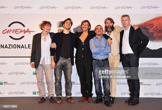 Actors Andrea Vergoni Luca Marinelli director Corrado Sassi and actors Francesco di Leva Salvatore Sansone and William Sinclair attends the 'Waves'...