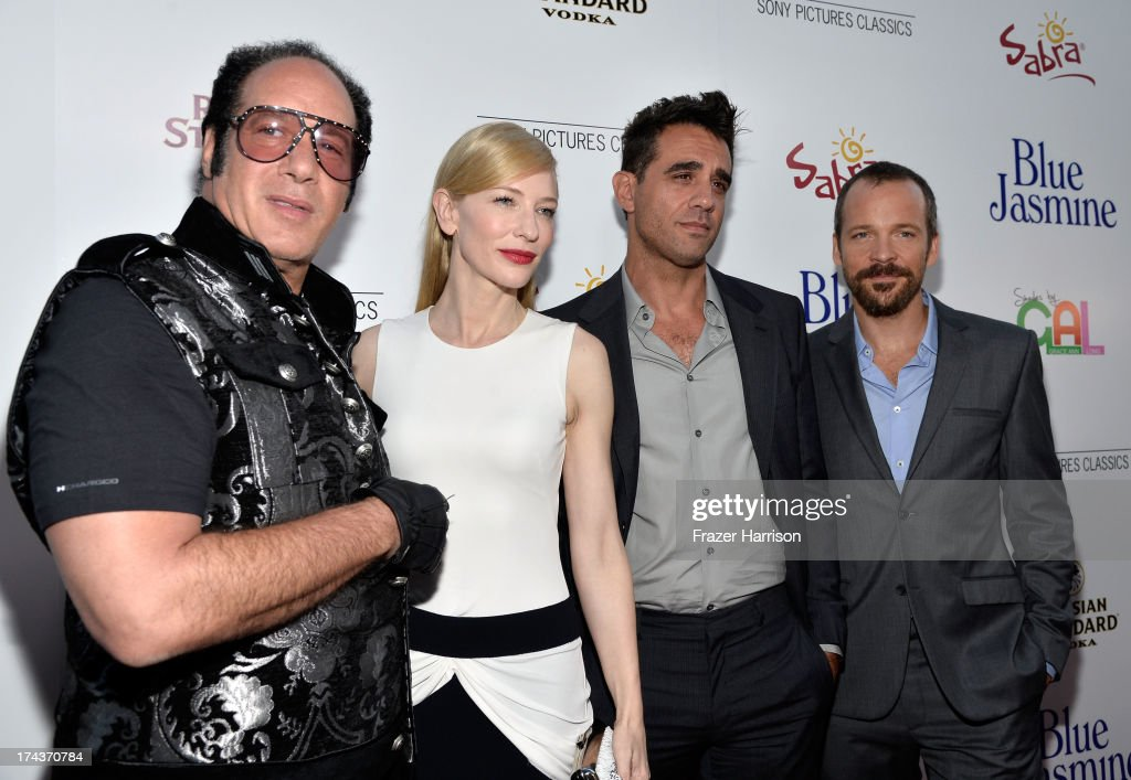 Actors <a gi-track='captionPersonalityLinkClicked' href=/galleries/search?phrase=Andrew+Dice+Clay&family=editorial&specificpeople=678985 ng-click='$event.stopPropagation()'>Andrew Dice Clay</a>, <a gi-track='captionPersonalityLinkClicked' href=/galleries/search?phrase=Cate+Blanchett&family=editorial&specificpeople=201621 ng-click='$event.stopPropagation()'>Cate Blanchett</a>, <a gi-track='captionPersonalityLinkClicked' href=/galleries/search?phrase=Bobby+Cannavale&family=editorial&specificpeople=211166 ng-click='$event.stopPropagation()'>Bobby Cannavale</a> and <a gi-track='captionPersonalityLinkClicked' href=/galleries/search?phrase=Peter+Sarsgaard&family=editorial&specificpeople=210547 ng-click='$event.stopPropagation()'>Peter Sarsgaard</a> arrive at the premiere of 'Blue Jasmine' hosted by AFI & Sony Picture Classics at AMPAS Samuel Goldwyn Theater on July 24, 2013 in Beverly Hills, California.