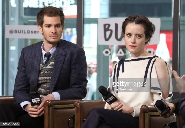 Actors Andrew Garfield and Claire Foy attend Build to discuss 'Breathe'at Build Studio on October 11 2017 in New York City