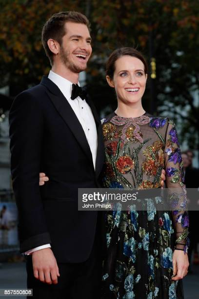 Actors Andrew Garfield and Claire Foy attend the European Premiere of 'Breathe' on the opening night gala of the 61st BFI London Film Festival on...
