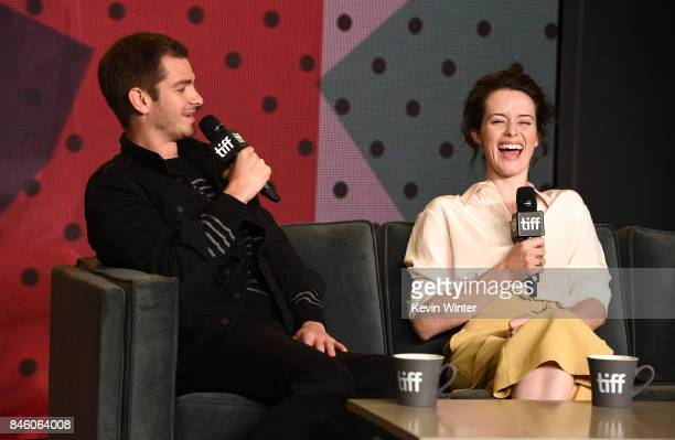 Actors Andrew Garfield and Claire Foy speak onstage at 'Breathe' press conference during 2017 Toronto International Film Festival at TIFF Bell...