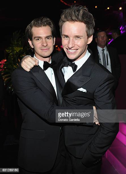 Actors Andrew Garfield and Eddie Redmayne attend The 2017 InStyle and Warner Bros 73rd Annual Golden Globe Awards PostParty at The Beverly Hilton...