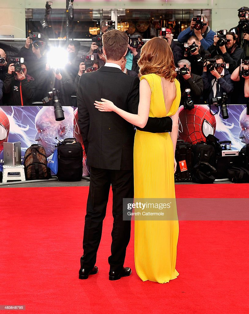 Actors <a gi-track='captionPersonalityLinkClicked' href=/galleries/search?phrase=Andrew+Garfield&family=editorial&specificpeople=4047840 ng-click='$event.stopPropagation()'>Andrew Garfield</a> and <a gi-track='captionPersonalityLinkClicked' href=/galleries/search?phrase=Emma+Stone&family=editorial&specificpeople=672023 ng-click='$event.stopPropagation()'>Emma Stone</a> attend 'The Amazing Spider-Man 2' world premiere at the Odeon Leicester Square on April 10, 2014 in London, England.