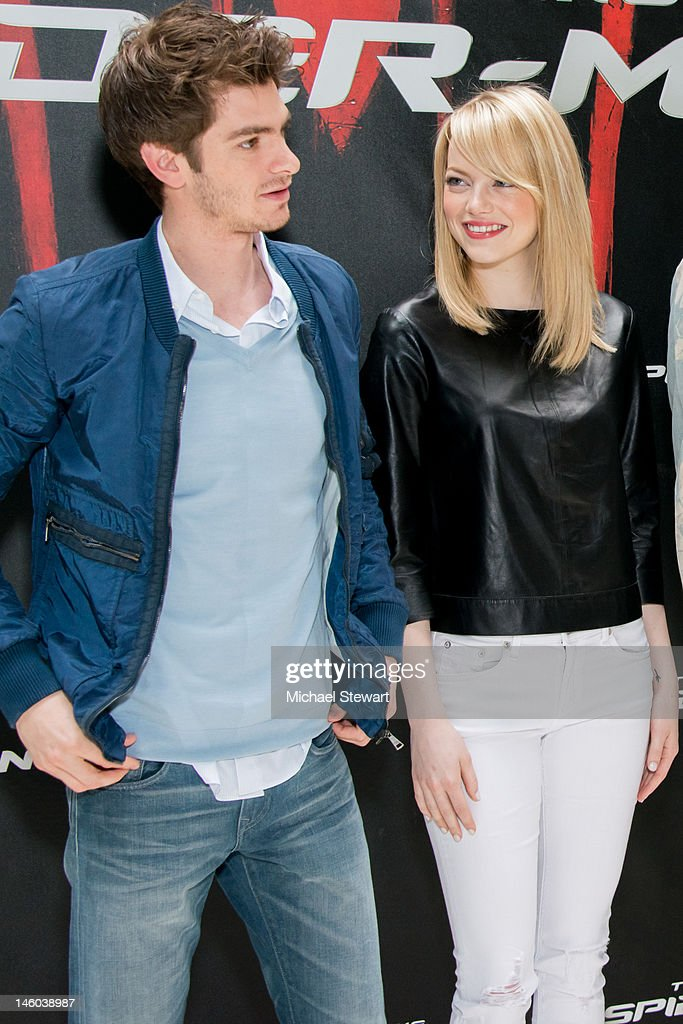Actors Andrew Garfield (L) and Emma Stone attend the 'The Amazing Spider-Man' New York City Photo Call at Crosby Street Hotel on June 9, 2012 in New York City.