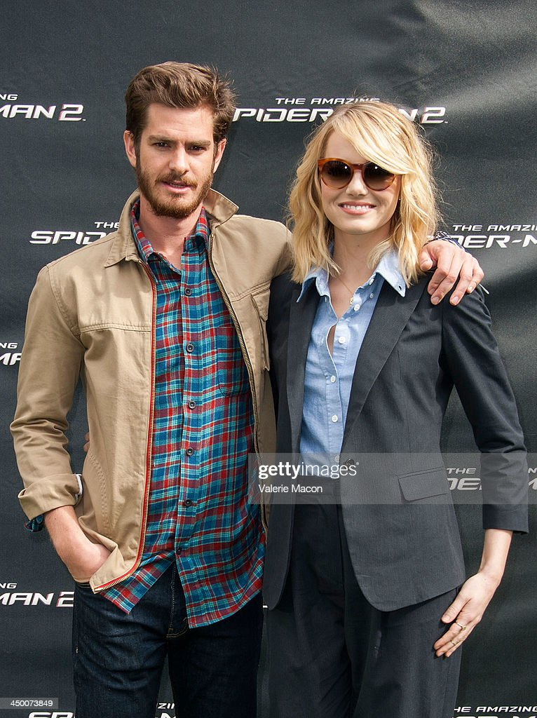 Actors <a gi-track='captionPersonalityLinkClicked' href=/galleries/search?phrase=Andrew+Garfield&family=editorial&specificpeople=4047840 ng-click='$event.stopPropagation()'>Andrew Garfield</a> and <a gi-track='captionPersonalityLinkClicked' href=/galleries/search?phrase=Emma+Stone&family=editorial&specificpeople=672023 ng-click='$event.stopPropagation()'>Emma Stone</a> pose at 'The Amazing Spiderman 2' Los Angeles Photo Call at Sony Pictures Studios on November 16, 2013 in Culver City, California.