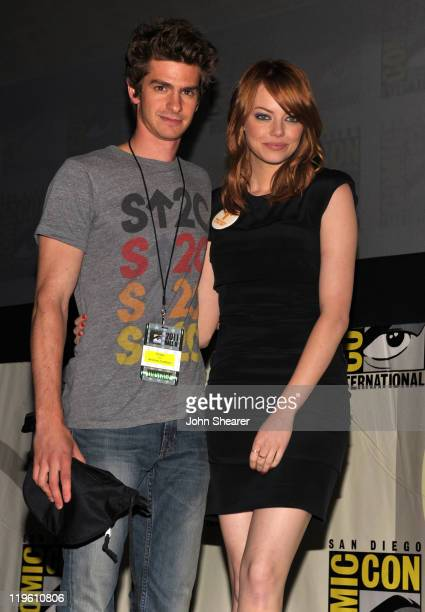 Actors Andrew Garfield and Emma Stone speak at 'The Amazing SpiderMan' Panel during ComicCon 2011 at San Diego Convetion Center on July 22 2011 in...
