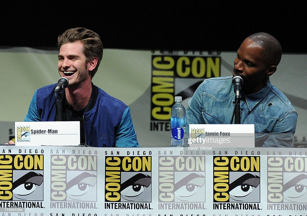 Actors Andrew Garfield (L) and Jamie Foxx speak onstage at the Sony and Screen Gems panel for 'The Amazing Spider-Man 2' during Comic-Con International 2013 at San Diego Convention Center on July 19, 2013 in San Diego, California.