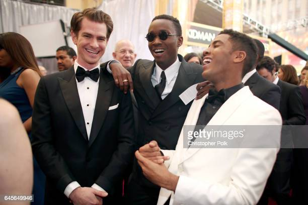 Actors Andrew Garfield Ashton Sanders and Jharrel Jerome attend the 89th Annual Academy Awards at Hollywood Highland Center on February 26 2017 in...