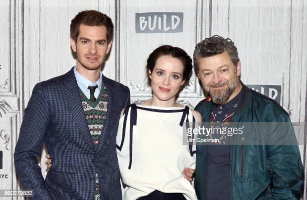 Actors Andrew Garfield Claire Foy and director Andy Serkis attend Build to discuss 'Breathe'at Build Studio on October 11 2017 in New York City