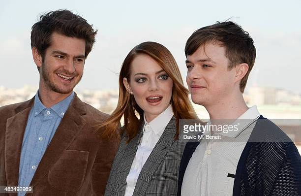 Actors Andrew Garfield Emma Stone and Dane DeHaan attend 'The Amazing SpiderMan 2' photocall at Park Plaza Westminster Bridge Hotel on April 9 2014...
