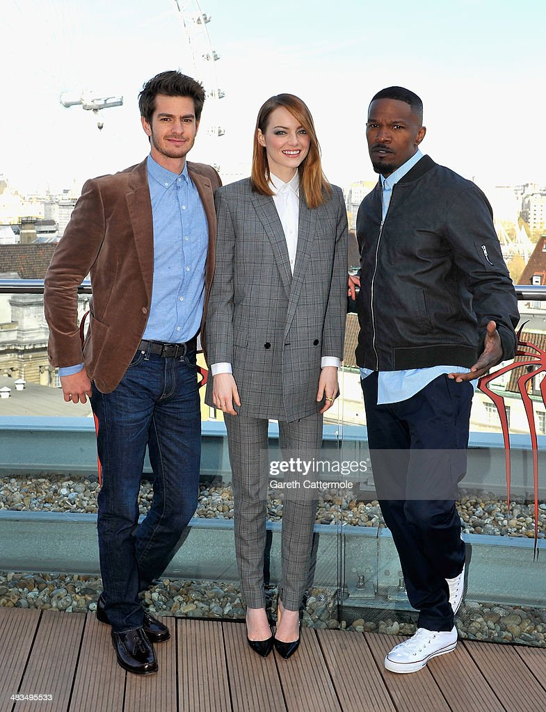 Actors Andrew Garfield, Emma Stone and Jamie Foxx attend the Amazing Spider-Man 2 Cast and Filmmaker photocall at the Park Plaza Hotel on April 9, 2014 in London, England.