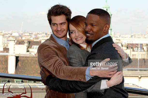 Actors Andrew Garfield Emma Stone and Jamie Foxx attend 'The Amazing SpiderMan 2' photocall at Park Plaza Westminster Bridge Hotel on April 9 2014 in...