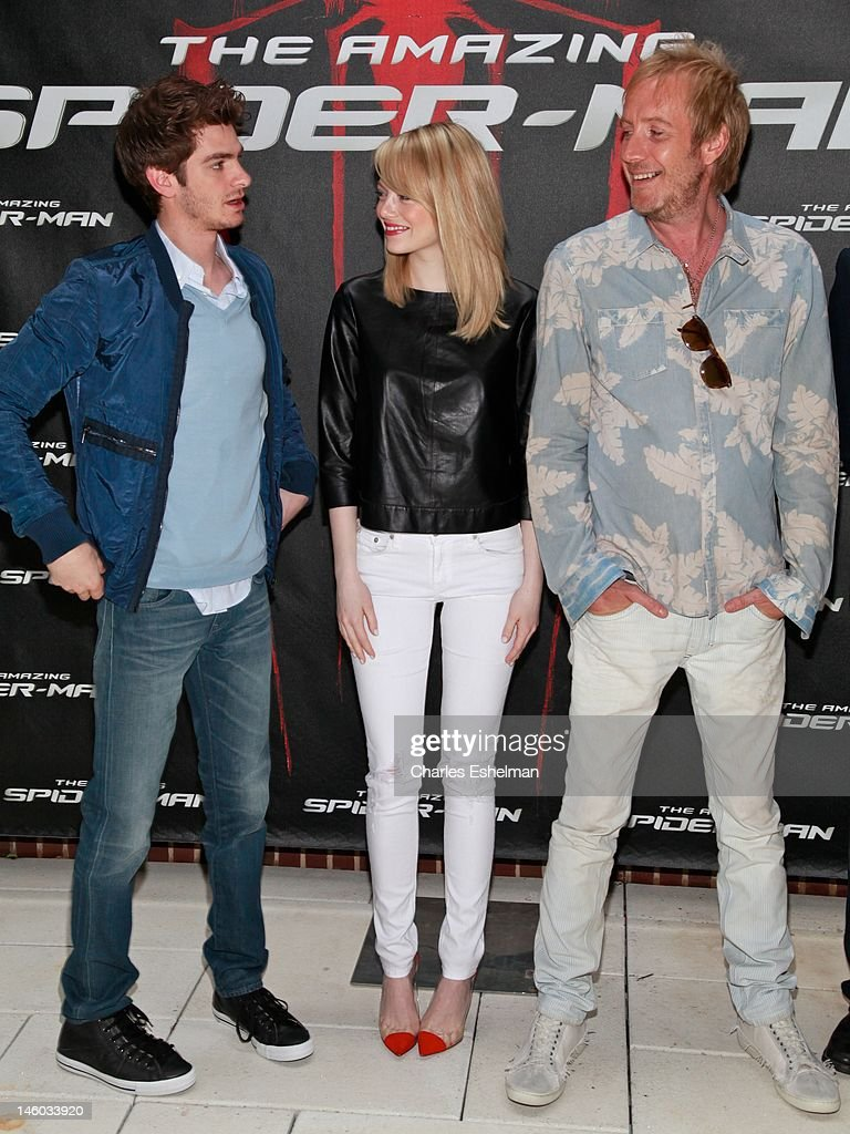Actors Andrew Garfield, Emma Stone and Rhys Ifans attend the 'The Amazing Spider-Man' New York City Photo Call at Crosby Street Hotel on June 9, 2012 in New York City.