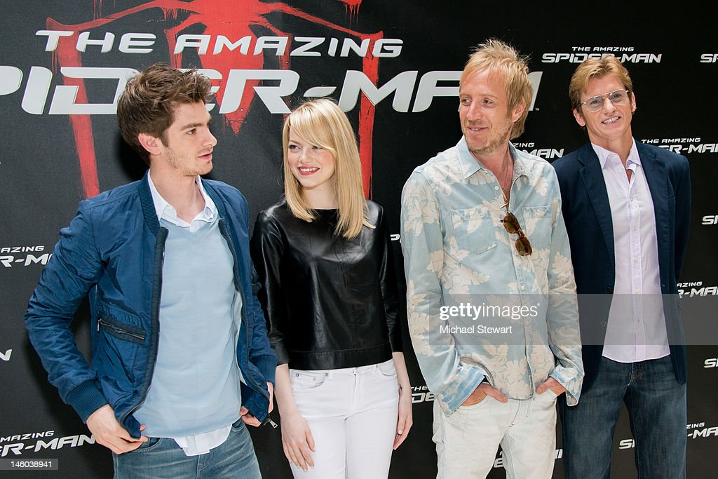 Actors Andrew Garfield, Emma Stone, Rhys Ifans and Denis Leary attend the 'The Amazing Spider-Man' New York City Photo Call at Crosby Street Hotel on June 9, 2012 in New York City.