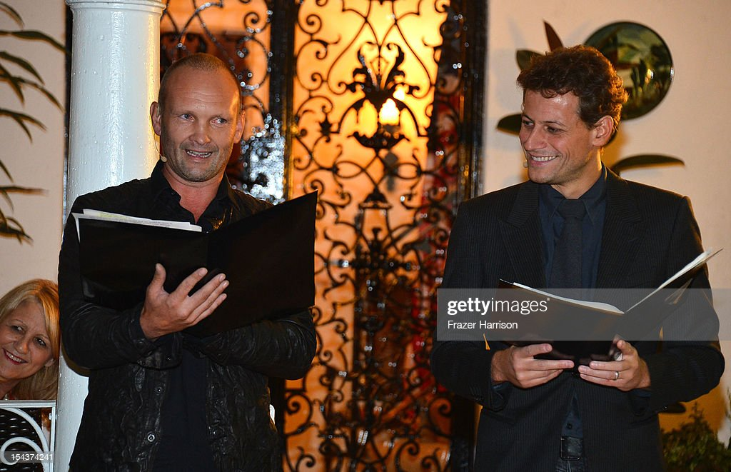 Actors Andrew Howard, Ioan Gruffudd attend Wales Celebrates the launch of 'The Richard Burton Diaries' hosted by The Welsh Government, Swansea University and Yale University Press held at the British Consul-General residence, Hancock Park on October 18, 2012 in Los Angeles, California.